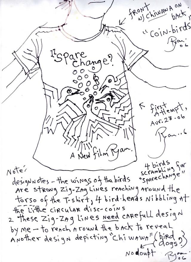 t-shirt design, Ryan Larkin, Spare Change