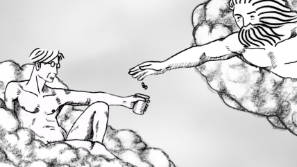 Spare Change animation, Ryan Larkin drawing Heaven and Hell